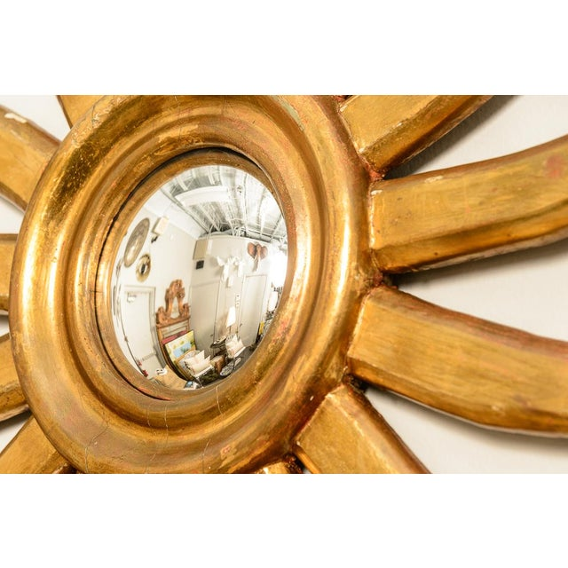 Fabulous Antique Gilt Wood Sunburst Mirror with a convex Mirror, probably Italian. Great patina to the Gilt wood....