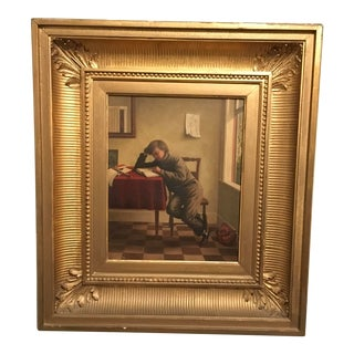 """Wesley Vernier California Artist """"The Young Student"""" Circa 1860 Painting For Sale"""
