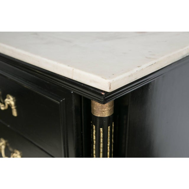 French Maison Jansen French Marble-Top Ebonized Sideboard For Sale - Image 3 of 8