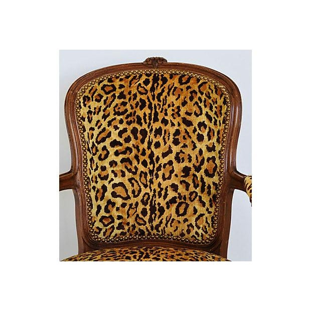 1950s Leopard Velvet Carved Armchair For Sale - Image 11 of 12