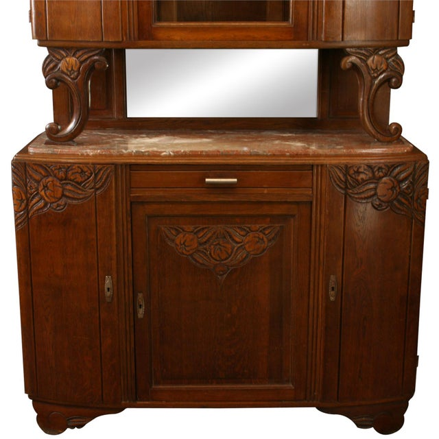 1920 French Art Deco Carved Oak Buffet - Image 3 of 8