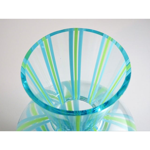 Blue Hand Blown Green and Blue Glass Vase For Sale - Image 8 of 13