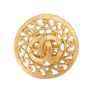 Chanel Gold Charm Filigree Textured Evening Statement Pin Brooch For Sale