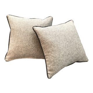 British Traditional Flannel Brownish Gray Pillows With Contrasting Dark Gray Trim (New) - a Pair For Sale