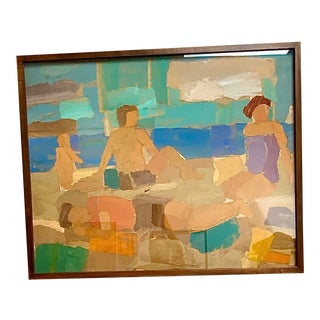 """Beach Day"" Collage on Wood Under Glass by British Artist For Sale"