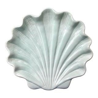 Vintage Celadon Ceramic Shell Platter For Sale