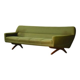 Danish 1960s Large Curved Sofa With Teak Scissor Legs by Leif Hansen For Sale