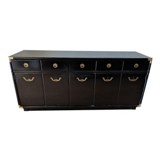 1960s Campaign Drexel Accolade Glossy Black Credenza For Sale