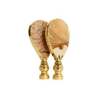 Gold Gilded Picture Jasper Lamp Finials - a Pair For Sale
