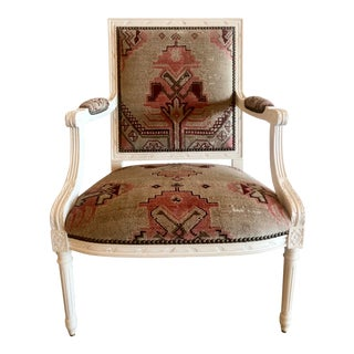 Vintage Carved Italian Chair Upholstered in Antique Rug For Sale