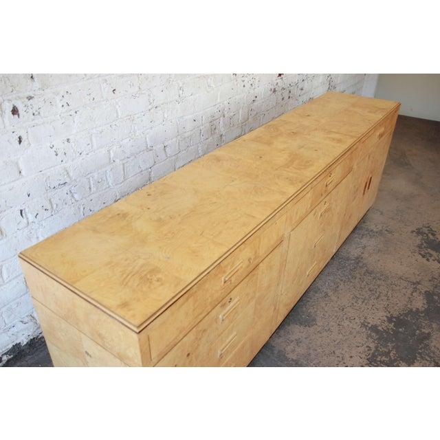 Burl Wood Long Credenza or Bar Cabinet by Henredon For Sale - Image 9 of 13