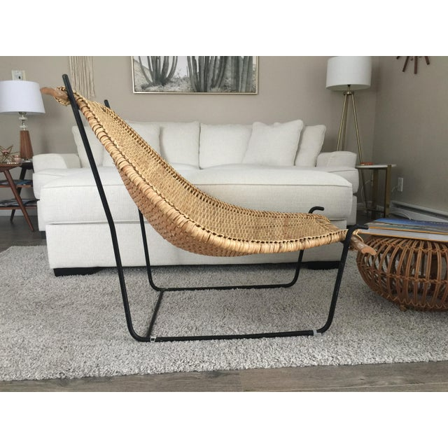 1950s Vintage Mid Century John Risley Rattan & Iron Lounge Chair For Sale - Image 5 of 12