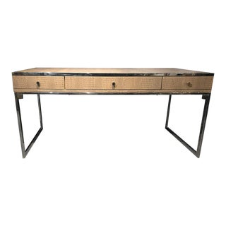 Hollywood Regency Style Desk With Embossed Stitched Leather on a Chrome Frame For Sale
