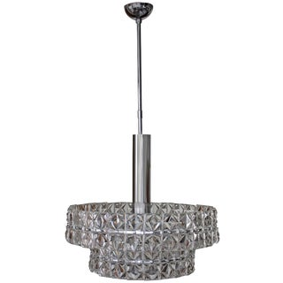 Targetti Sankey Chrome and Glass Chandelier For Sale