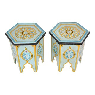 Moroccan Moorish Hand Painted Side Table - a Pair For Sale
