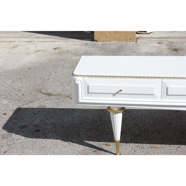 1940s French 4-Drawer Snow White Sideboard Buffet For Sale - Image 4 of 12