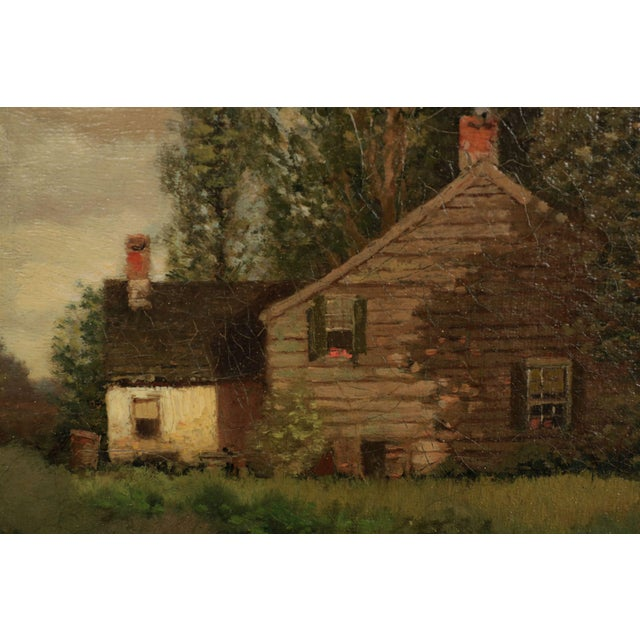 Canvas Henry Pember Smith Landscape Painting of Cottage by Lake For Sale - Image 7 of 11