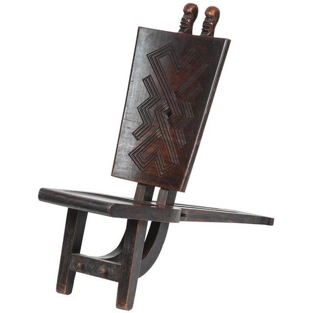 Brown African Tribal Baluba Chief's Chair From Katanga For Sale - Image 8 of 8