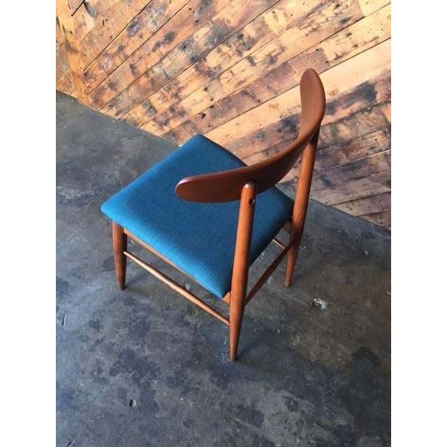 Mid Century Refinished Reupholstered Walnut Dining Desk Chair - Image 6 of 6