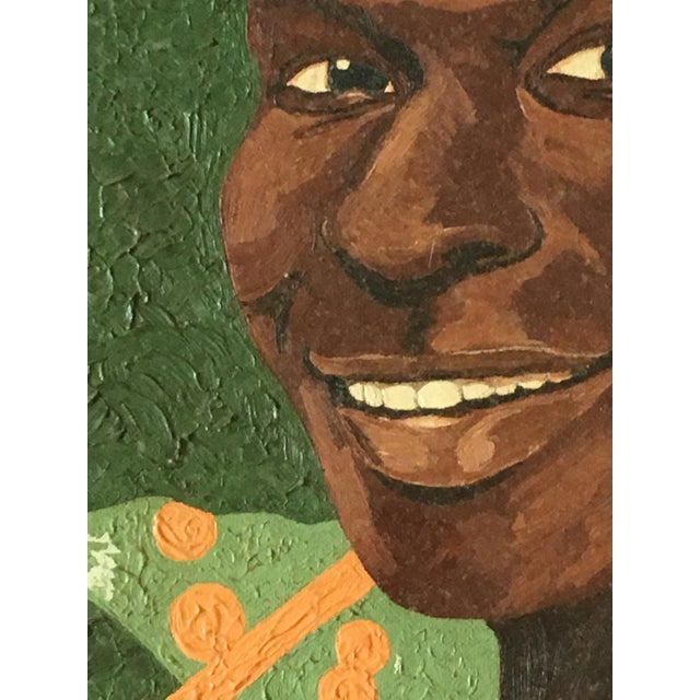 Boho Chic Vintage Young Black Man Portrait Framed Oil Painting on Wood For Sale - Image 3 of 8