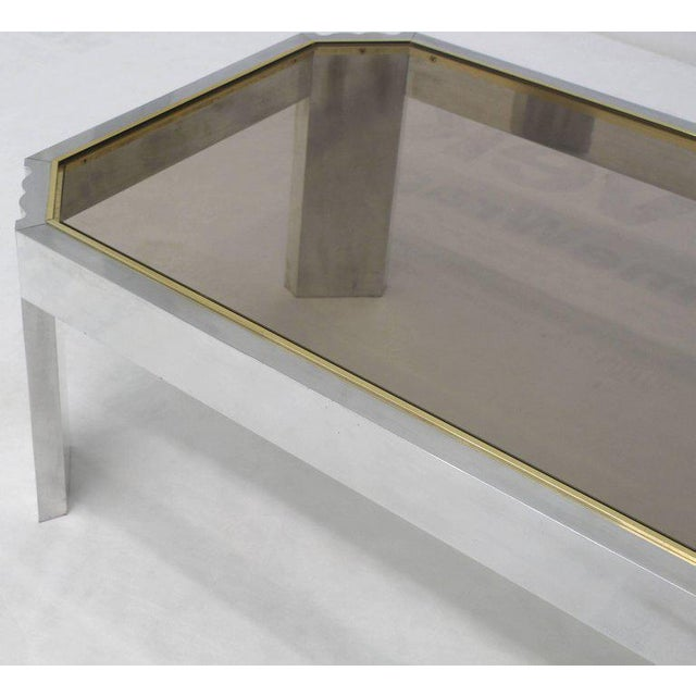 Mid 20th Century Aluminum Brass Glass Rectangular Coffee Table For Sale - Image 5 of 7