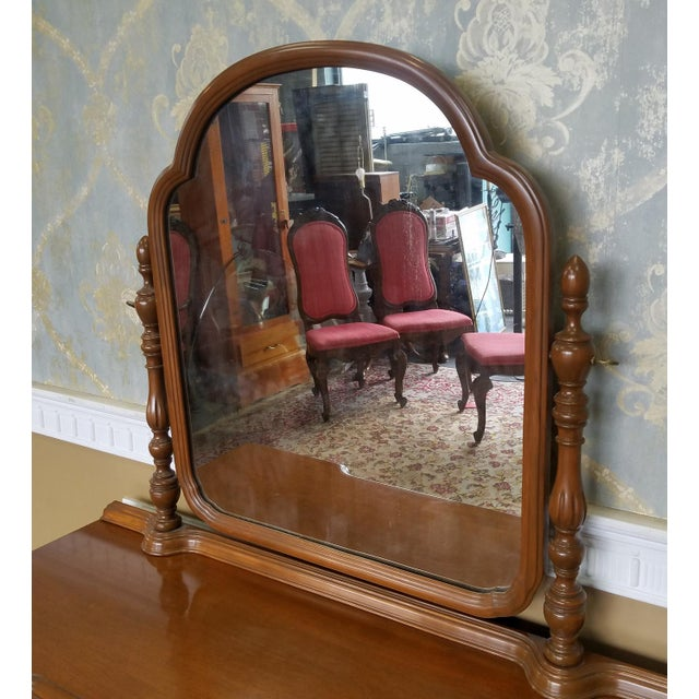 Glass 1930s Post Deco Walnut Traditional Bedroom Vanity & Mirror With Bench For Sale - Image 7 of 11
