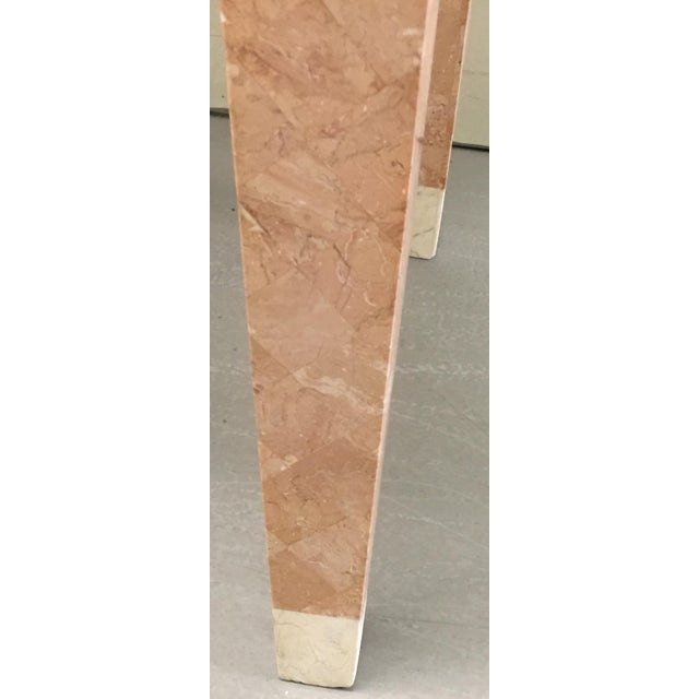 1980s Maitland Smith Pink Tessellated Stone Console Table For Sale - Image 5 of 7