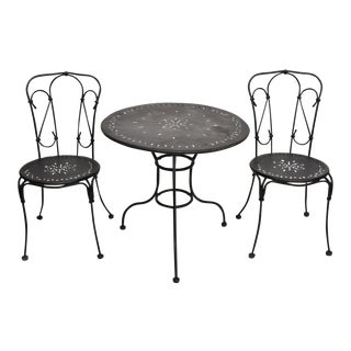 Contemporary Steel & Wrought Iron Metal Patio Bistro Patio Dining Set For Sale