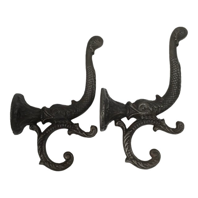Antique Iron Koi Fish Coat Hooks - a Pair For Sale