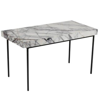 Italian Marble-Top and Iron Side Table For Sale