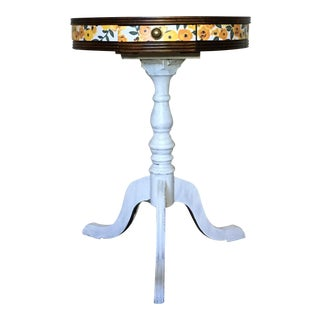 Distressed White & Floral Accent Table