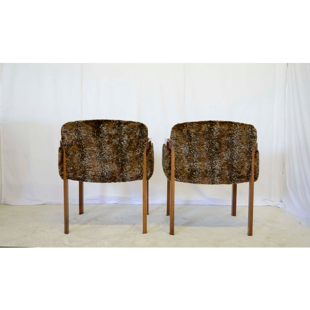 1960's Faux Fur Side Chairs - A Pair For Sale - Image 4 of 7