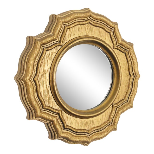 Vintage Petite Faux Gilt Wood Round Mirror For Sale
