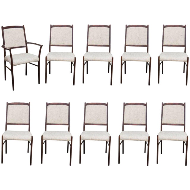 Set of Ten Skovby Rosewood Upholstered Dining Chairs For Sale
