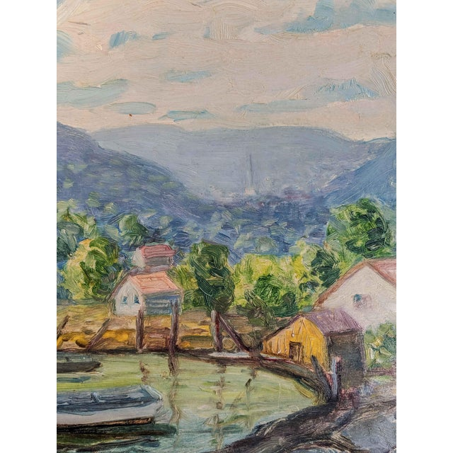 Vintage Oil Landscape Painting Signed by Artist Louise M. Kemp For Sale - Image 4 of 6