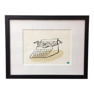 "Modern Hand Illustrated ""Type Writer"" Drawing by Michael Doyle For Sale"