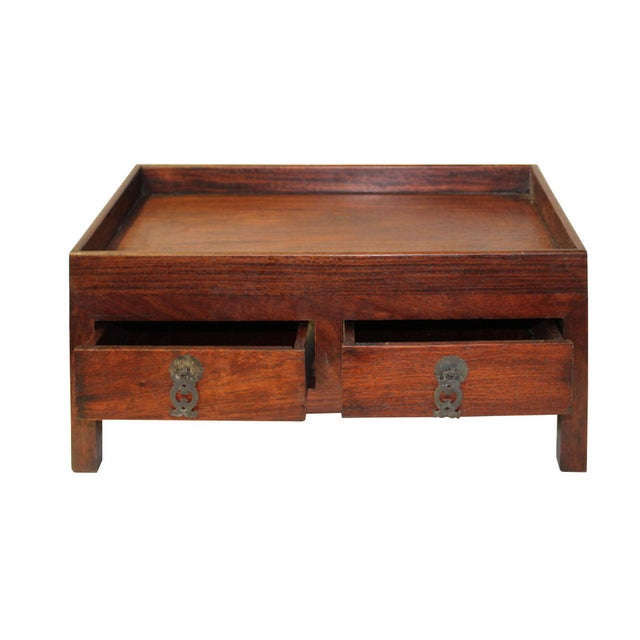 Chinese Huali Rosewood Open Top Drawers Storage Box Chest For Sale - Image 4 of 6