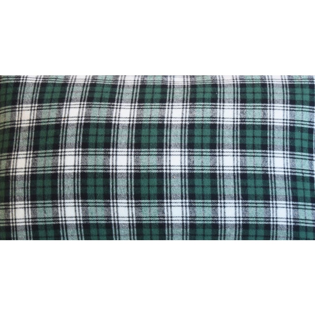American Green, Black & White Tartan Plaid Feather/Down Pillow For Sale - Image 3 of 7