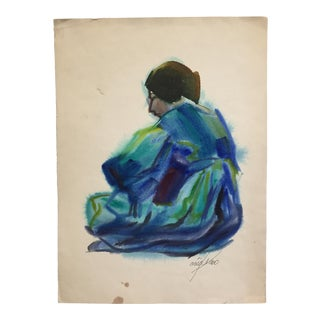 1970's Vintage Watercolor Painting, Woman Seated in Blues For Sale