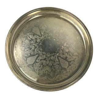 Vintage Repousse Silver Plate Round Serving Tray For Sale