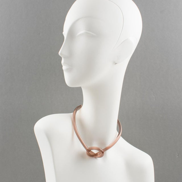 Copper Pink Lucite Rigid Dog Collar Necklace With Node For Sale - Image 4 of 10