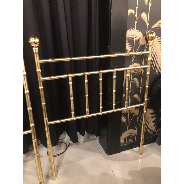 Metal Vintage Hollywood Regency Brass Faux Bamboo Twin Size Headboards -A Pair For Sale - Image 7 of 13