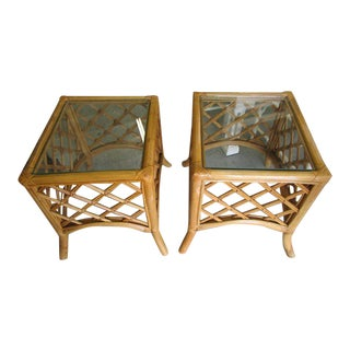 Rattan Diamond Pattern Side Tables - a Pair For Sale