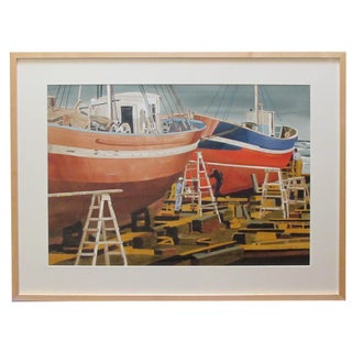Hong Kong Boat Works Watercolor on Paper Painting 1969 Signed 'Michael Dunlavey 2012' For Sale
