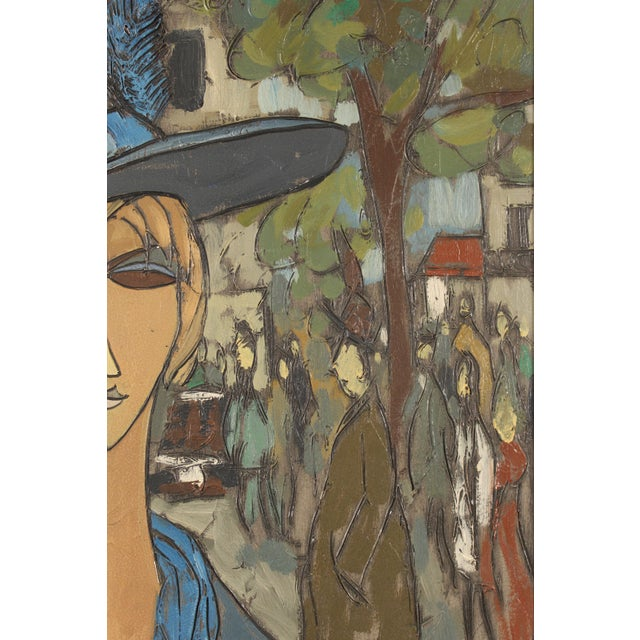 Paint Painting of a Lady in Blue by Philippe Marchand For Sale - Image 7 of 13