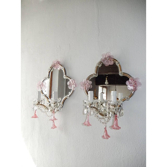 Pink Huge Maison Baguès Style Mirror with Pink Murano Flowers Sconces For Sale - Image 8 of 9