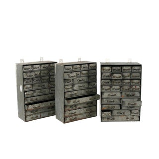 Iron Hanging French Industrial Banks of Drawers - Set of 3 For Sale