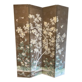 Vintage Asian Birds Chinoiserie Room Divider Screen For Sale