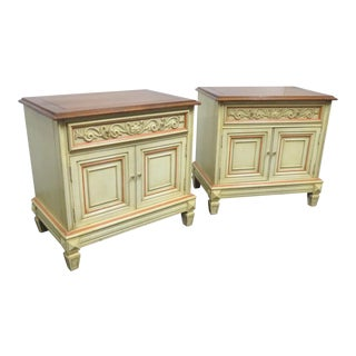 Italian Style Walnut Cream Nightstands - a Pair For Sale