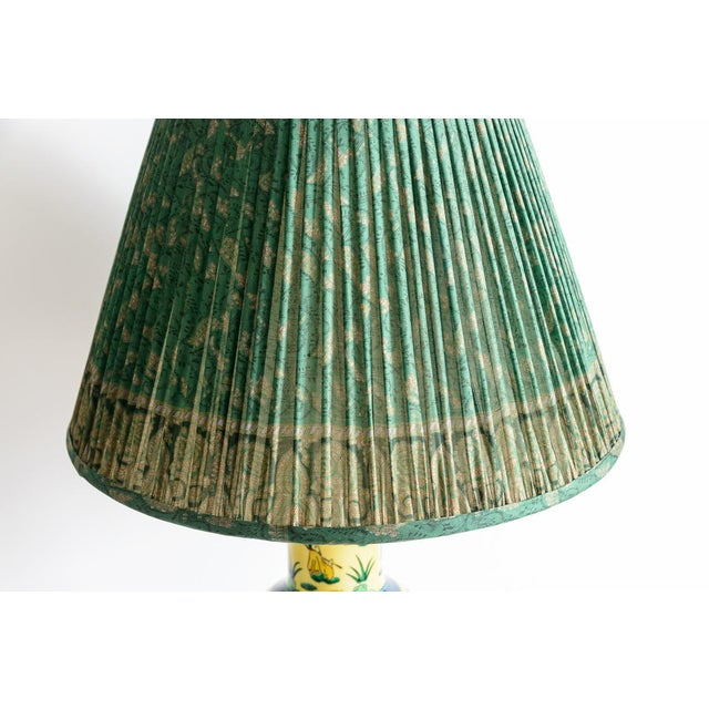 Metal Japanese Kutani Porcelain Vase Table Lamp With Custom Shade, C. 1940 For Sale - Image 7 of 13